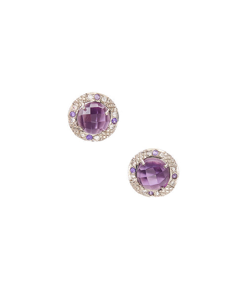 15mm Sterling Silver Halo Bezel Stud Earrings (amethyst)