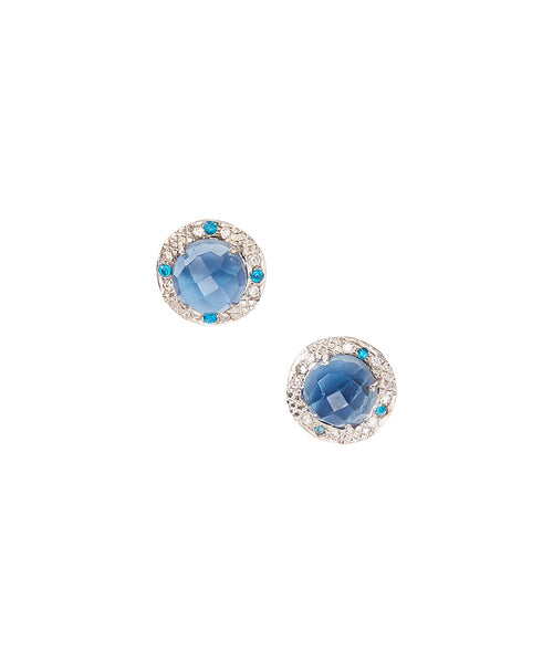 15mm Sterling Silver Halo Bezel Stud Earrings (swiss blue)