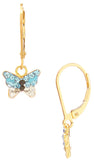 Vermeil Shamballa Butterfly Charm on Gold Filled Leverback