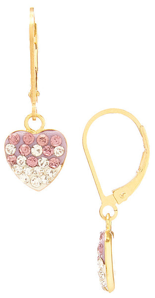 Vermeil Shamballa Heart Charm on Gold Filled Leverback