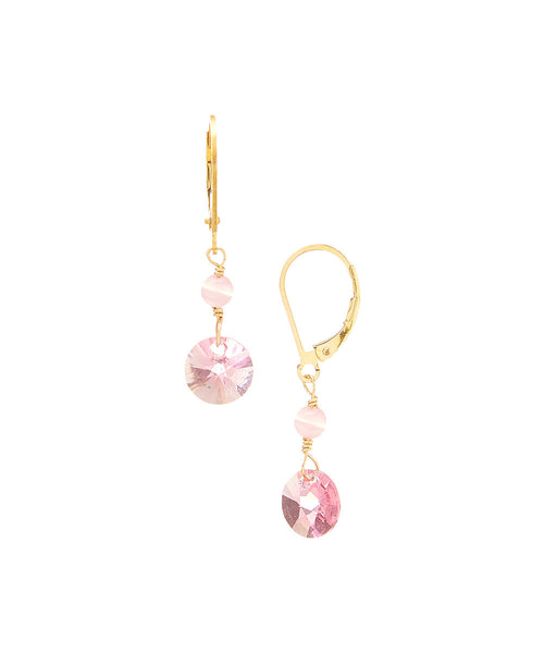 14/20 Gold Filled Swarovski Rivoli Drop Earring By Minigems (rose)