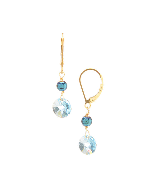 14/20 Gold Filled Swarovski Rivoli Drop Earring By Minigems (aqua)
