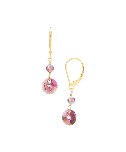 14/20 Gold Filled Swarovski Rivoli Drop Earring By Minigems (purple)