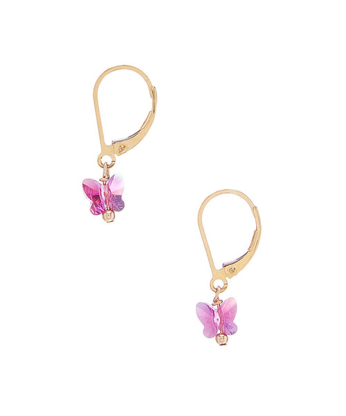 Swarovski Crystal Butterfly Earrings on 14/20 Gold Filled Leverback Posts by Minigems