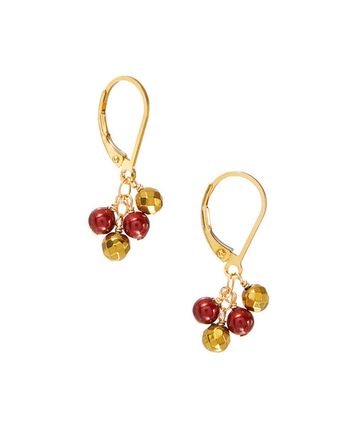 Wholesale Mixed Swarovski & Faceted Gold Bead Small Cascade Earrings