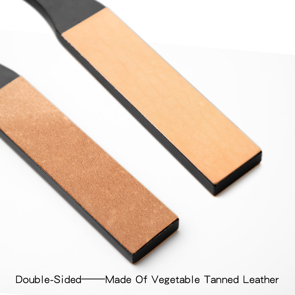 Wood Handle Leather Sharpening Strop
