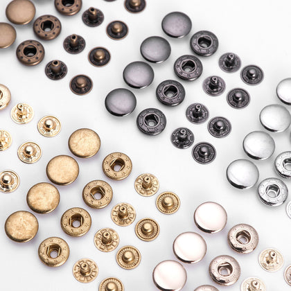 WUTA 20セットSolid Brass Snap Fasteners Metal Snaps Button Press Studs DIY Leather Craft Tools Sewing Accessories 8/10/12.5/15mm