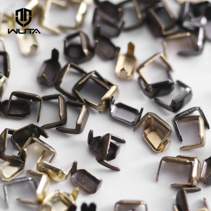 100 set Solid Brass Leather Staples Copper