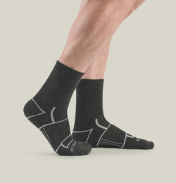 EnduroTec+ Merino Wool Micro Crew Socks, Charcoal/Grey
