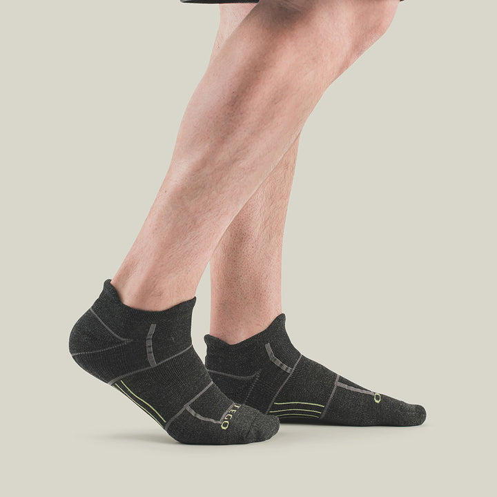 EnduroTec+ Light Merino Wool No Show Socks, Charcoal Lime