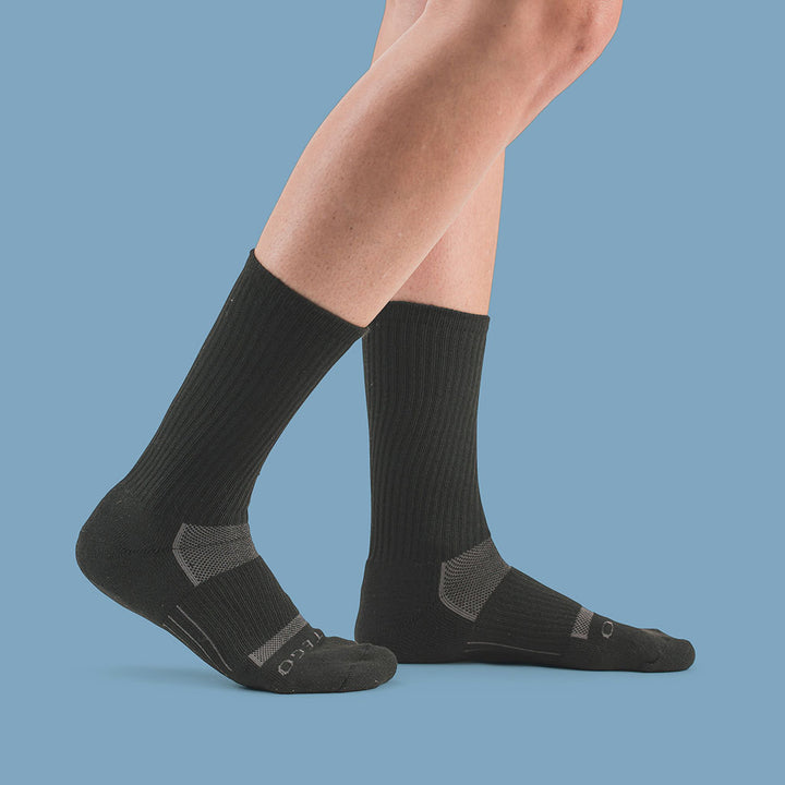 StrideTec Cushioned Crew Socks, Black/Grey