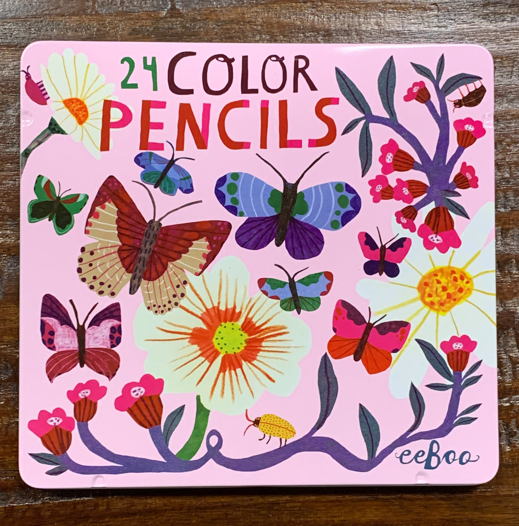 eeBoo Butterflies & Flowers 24 Color Pencils