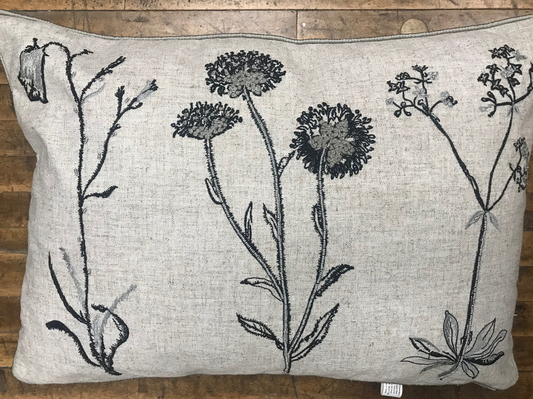 Decorative Pillow - Black & Gray Floral