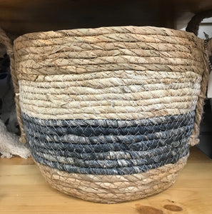 Medium Blue & White Stripe Basket