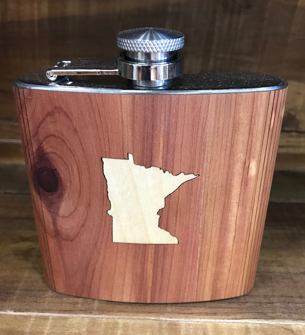 Minnesota Inlay Real Wood Flask