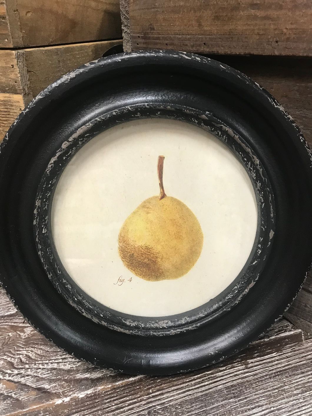 Round Wood Framed Pear Print