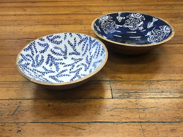 Blue Wood & Enamel Bowl