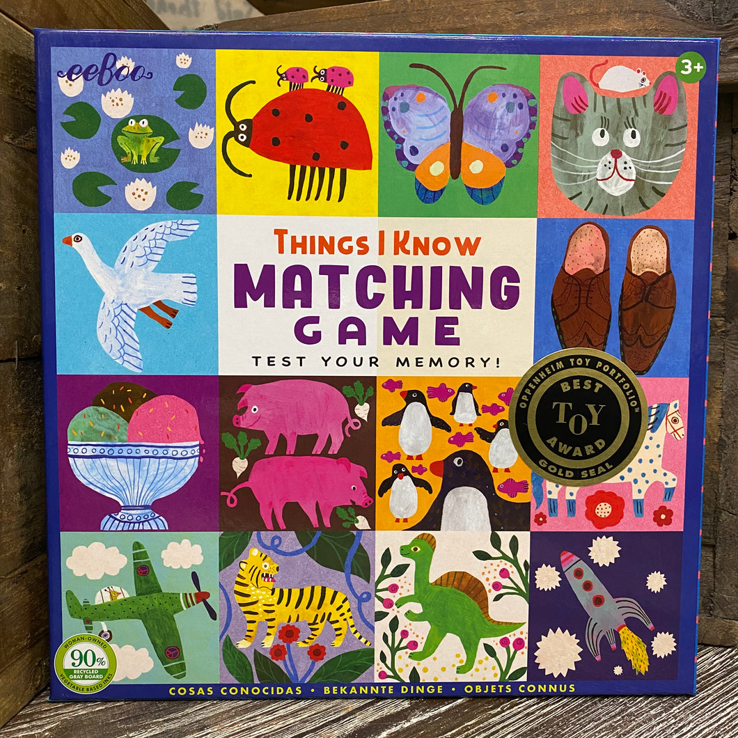 eeBoo Things I Know Matching Game