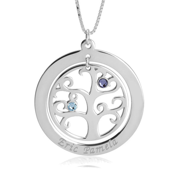 Family Tree Necklace (Birthstone + Engraving)