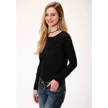 Roper Women's Black Jersey Knit Long Sleeve Scoop Neck Tee