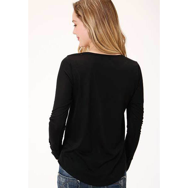 Roper Women's Black Jersey Knit Long Sleeve Scoop Neck Tee - All Blinged Out/Calamity's