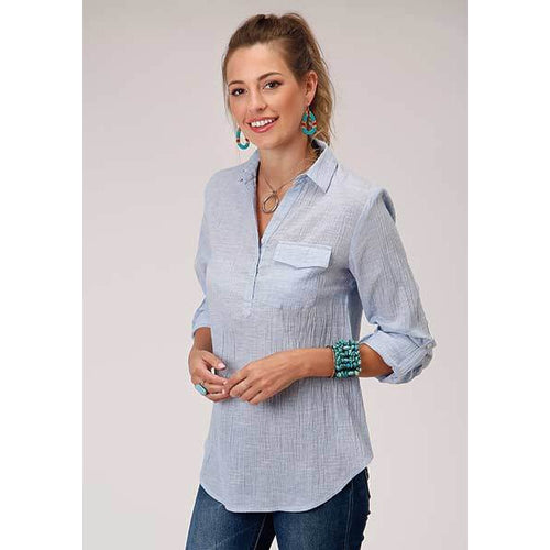 Studio West by Roper, Pullover crepe chambray shirt-Shirt-[Womens_Boutique]-[NFR]-[Rodeo_Fashion]-[Western_Style]-Calamity's LLC