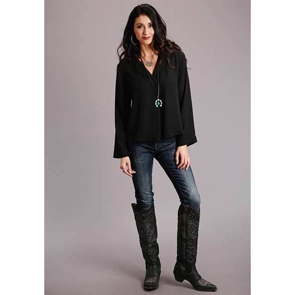 Stetson Black Crepe Blouse-Top-[Womens_Boutique]-[NFR]-[Rodeo_Fashion]-[Western_Style]-Calamity's LLC