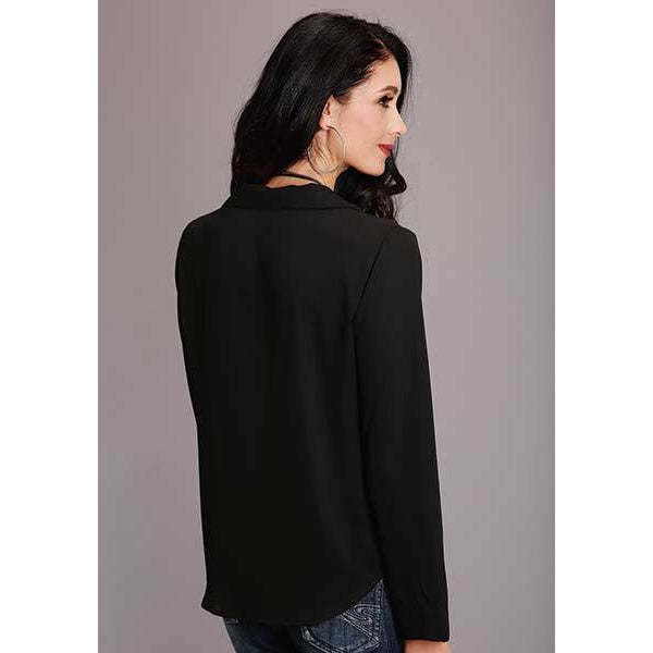 Stetson Black Crepe Blouse - All Blinged Out/Calamity's