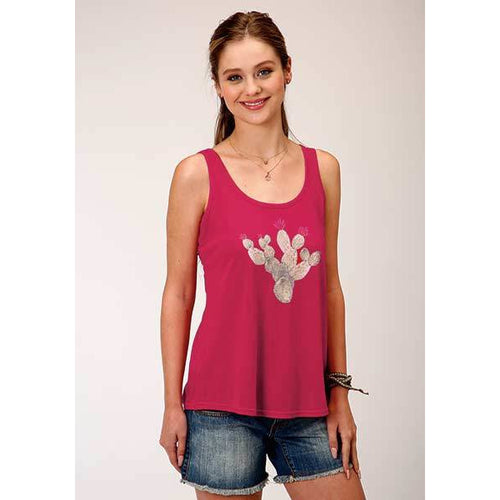 Women's Pink Cactus Tank, by Roper - All Blinged Out/Calamity's