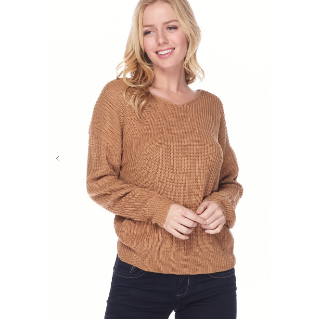 Twisted V-neck Sweater-Sweater-[Womens_Boutique]-[NFR]-[Rodeo_Fashion]-[Western_Style]-Calamity's LLC
