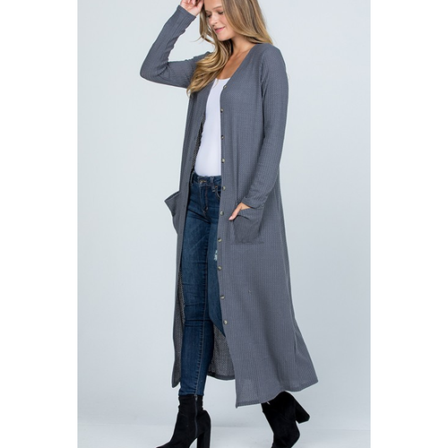Long Grey Cardigan - All Blinged Out/Calamity's