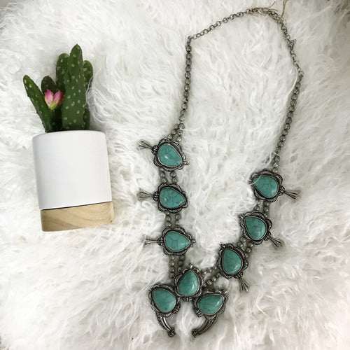 Faux Turquoise Squash Blossom Necklace - All Blinged Out/Calamity's