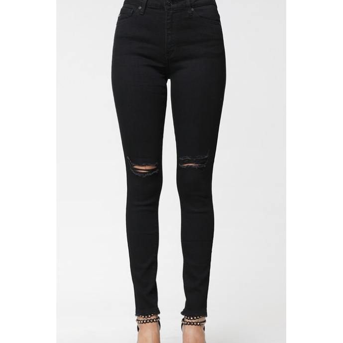 Kan Can Destroyed Black High Waist Skinny Jeans - All Blinged Out/Calamity's