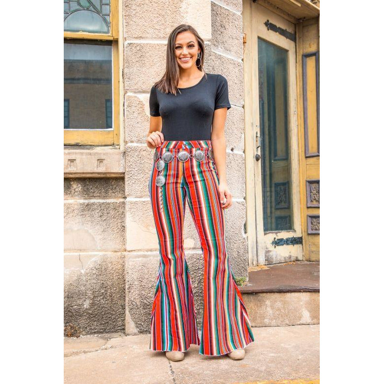 Red Serape print Denim Stretch High-rise Flare Jeans - All Blinged Out/Calamity's