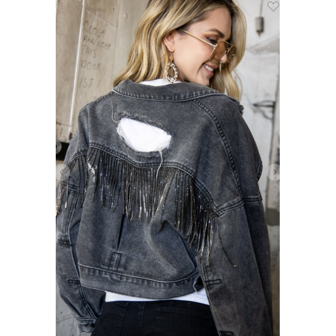 Rhinestone Fringe Denim Jacket-Jacket-[Womens_Boutique]-[NFR]-[Rodeo_Fashion]-[Western_Style]-Calamity's LLC