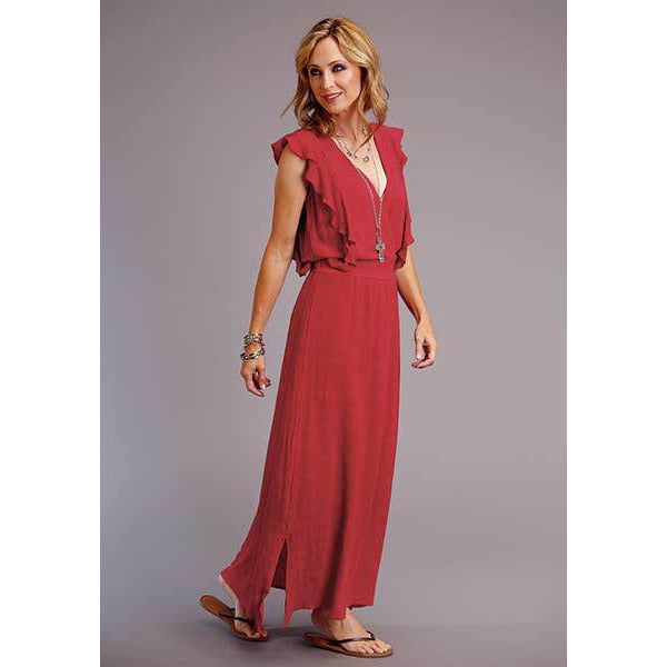 Textured Red Dress, by Stetson-[Womens_Boutique]-[NFR]-[Rodeo_Fashion]-[Western_Style]-Calamity's LLC