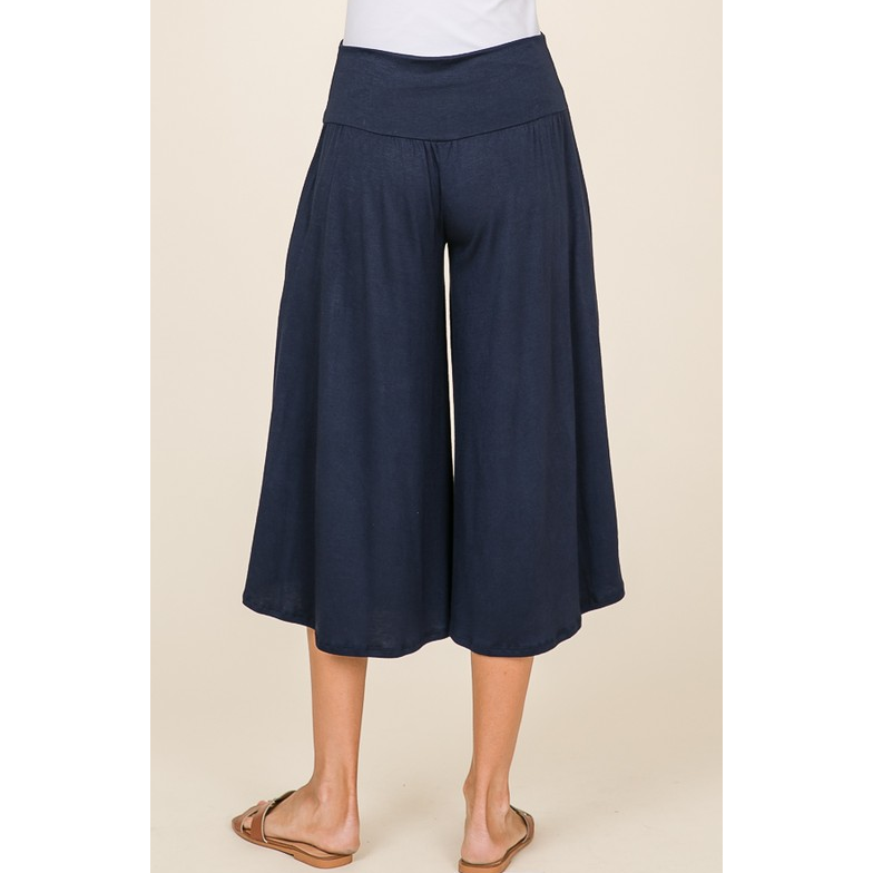 Casual Cropped Navy Pants with Pockets - All Blinged Out/Calamity's