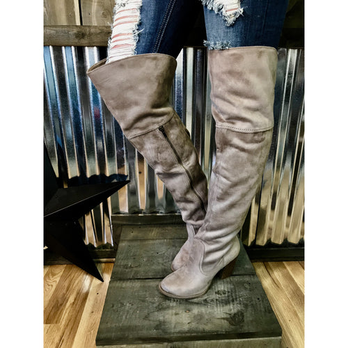 Andra Taupe Tall Boots - All Blinged Out/Calamity's