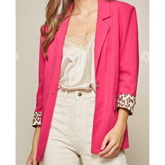 Hot Fuchsia  with Leopard Blazer - All Blinged Out/Calamity's