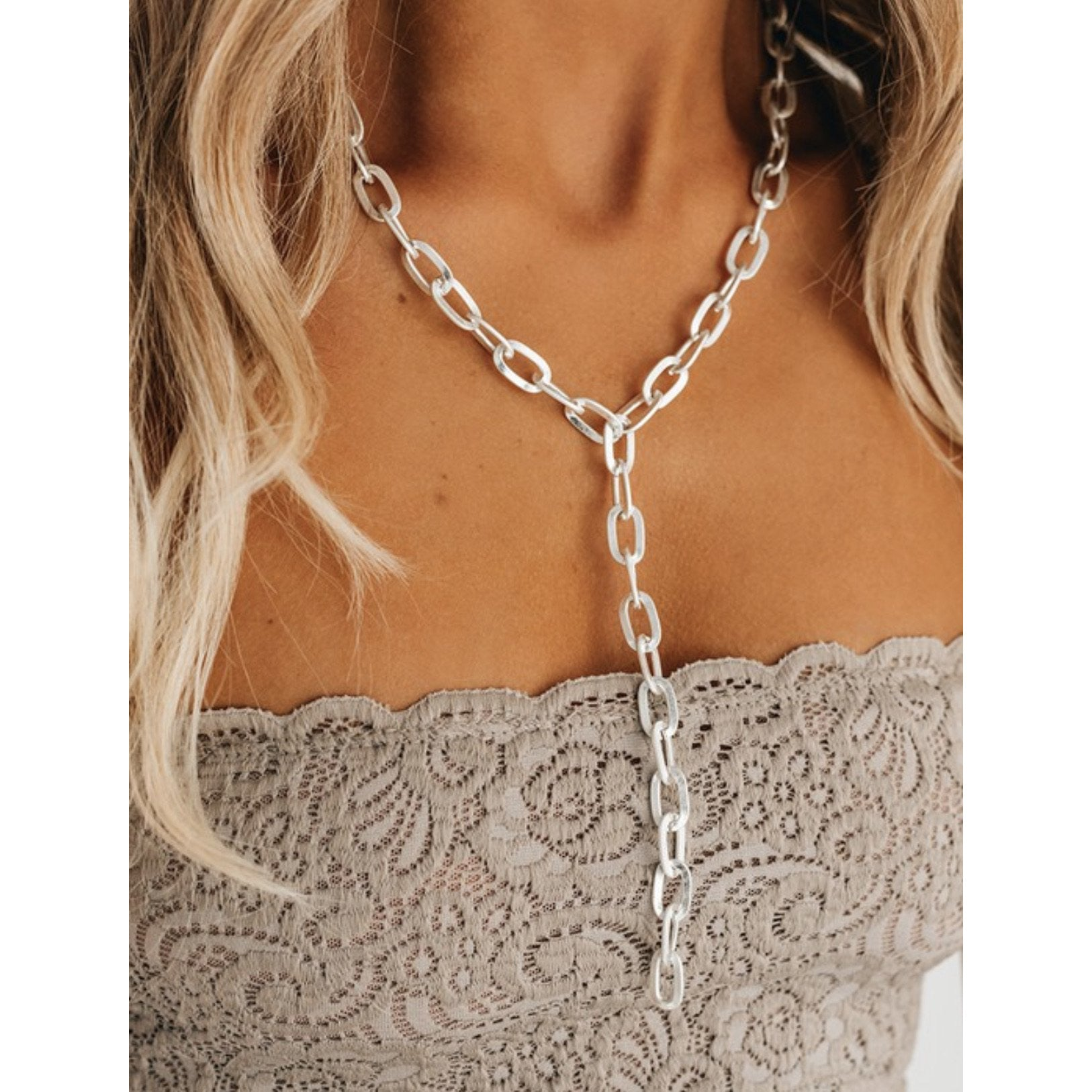 Chain Lariat Boho Necklace - All Blinged Out/Calamity's