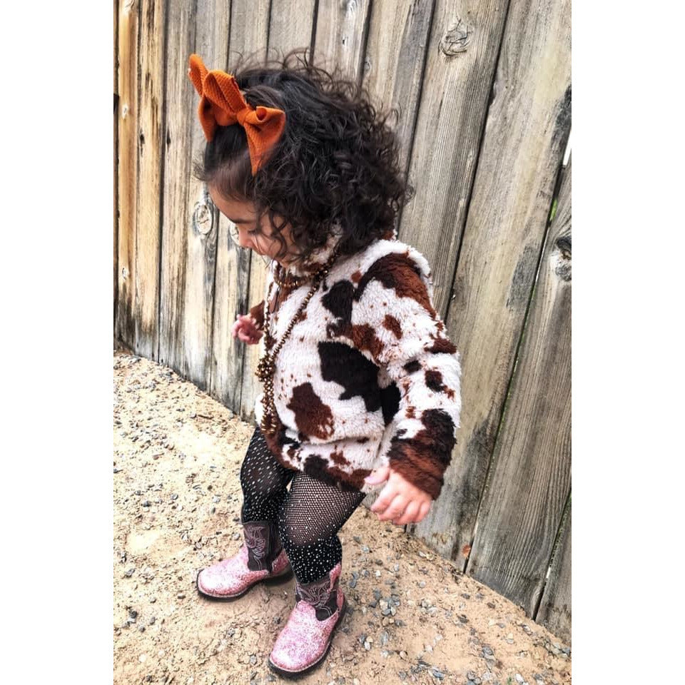 Kids Sherpa Cowprint pullovers - All Blinged Out/Calamity's