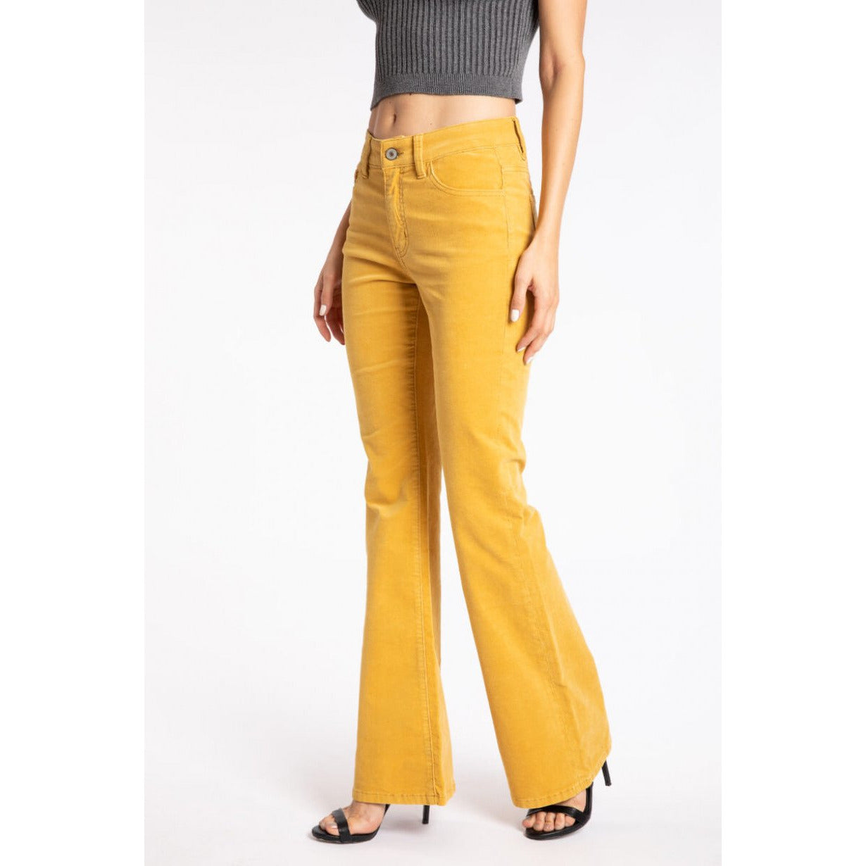 Mustard yellow corduroy pants, by Kancan - All Blinged Out/Calamity's