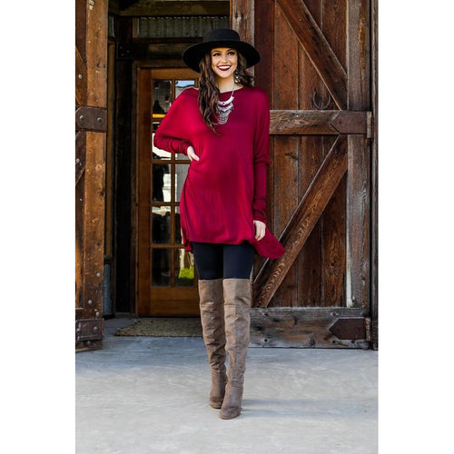 Burgundy long sleeve tunic - All Blinged Out/Calamity's