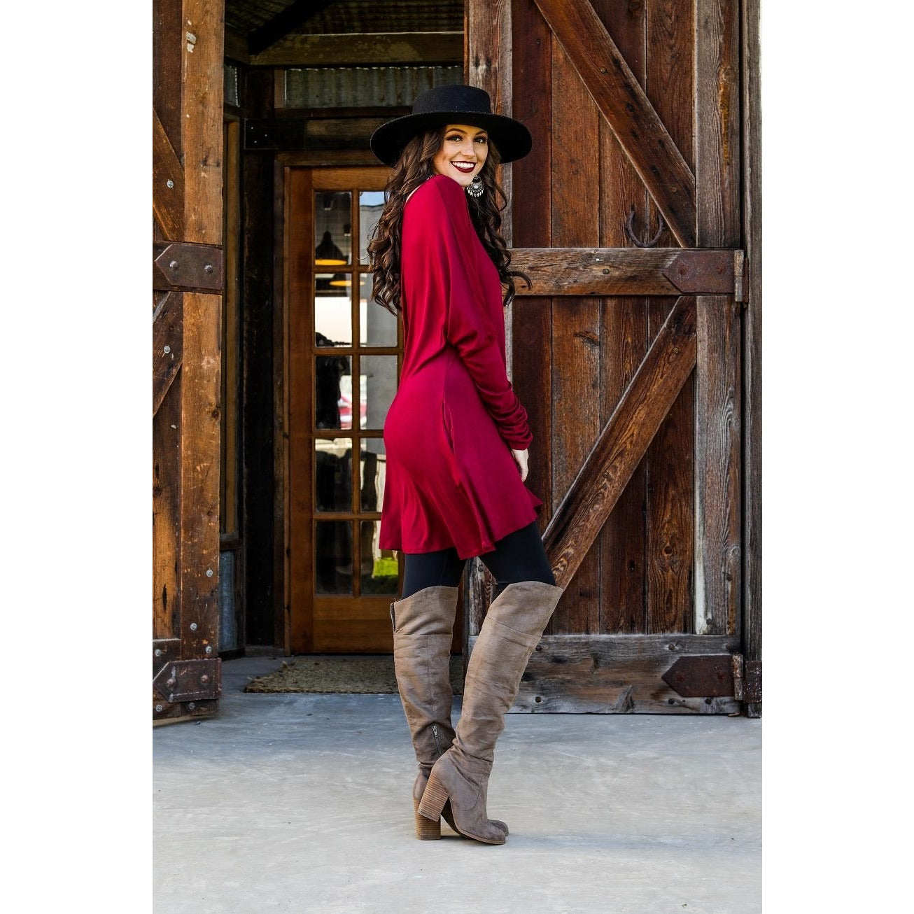 Burgundy long sleeve tunic-Top-[Womens_Boutique]-[NFR]-[Rodeo_Fashion]-[Western_Style]-Calamity's LLC