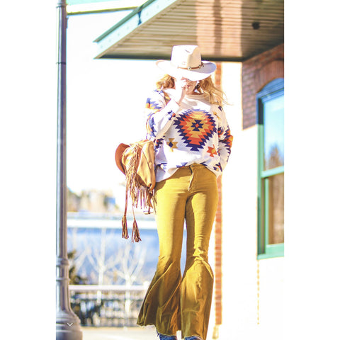 The Southwest Aztec button up jacket.