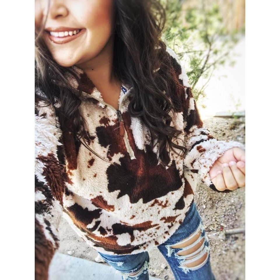 Cow Print Sherpas-[Womens_Boutique]-[NFR]-[Rodeo_Fashion]-[Western_Style]-Calamity's LLC