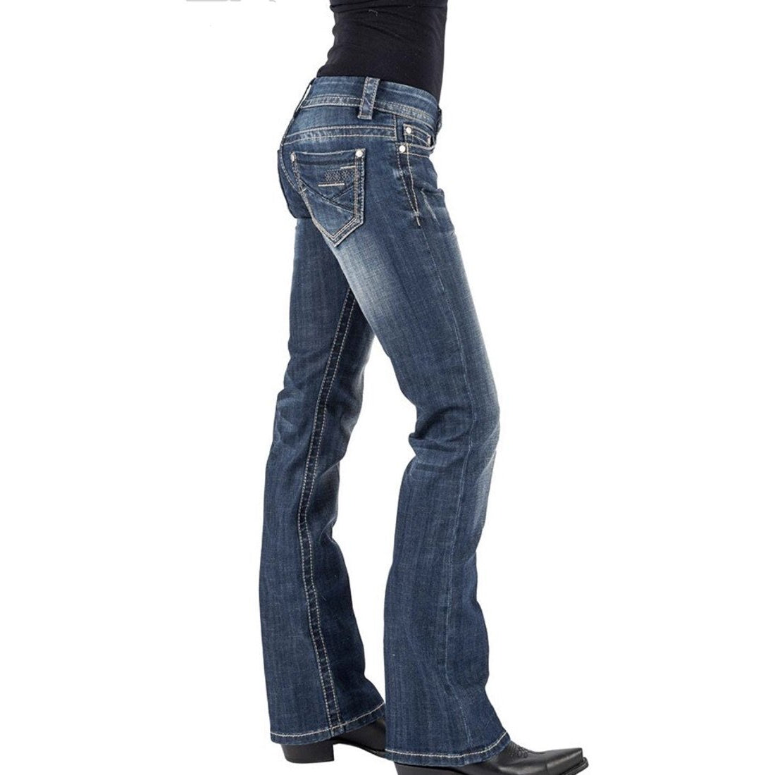 Stetson Western Jeans. Women's Slim Denim Hollywood Boot cut - All Blinged Out/Calamity's