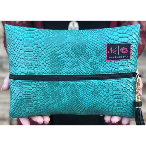 Makeup Junkie Bag: Turquoise Cobra - All Blinged Out/Calamity's