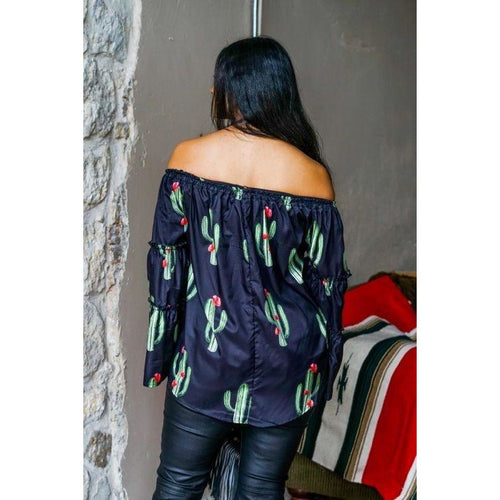 Black saguaro cactus off the shoulder top - All Blinged Out/Calamity's