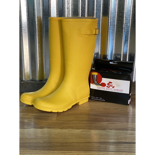 Yellow rubber boots. - All Blinged Out/Calamity's